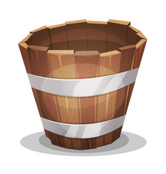 cartoon wood bucket vector image