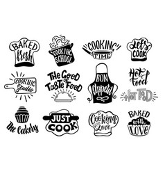 Collection lettering written with cursive font vector