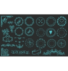 Collection of handdrawn laurels and wreaths vector image