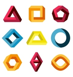 Color impossible shapes set vector