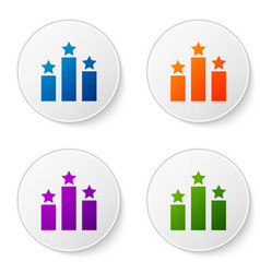 Color ranking star icon isolated on white vector