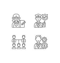 Corporation hierarchy linear icons set vector