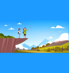 couple of tourists with backpacks taking selfie vector image