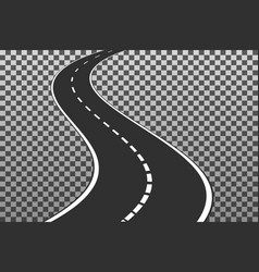 curved road with white markings eps10 ill vector image