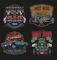 Custom american cars vintage colorful logos vector