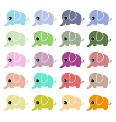 Cute elephant set vector