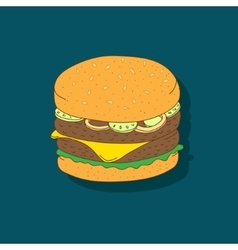 Cute hand-drawn cartoon sandwich vector