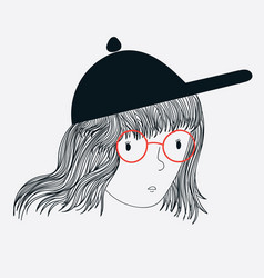 doodle skating women wearing hats and glasses vector image