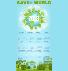 Ecology calendar template with green earth globe vector