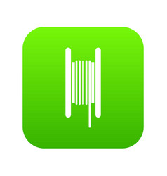 Electric cable in coil icon digital green vector