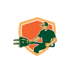 Electrician Carrying Electric Plug Shield Retro vector