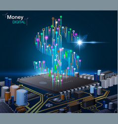 electronic digital money vector image