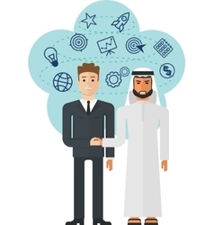 europen and arabian businessmans vector image