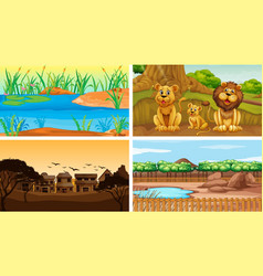 four background scenes with tree vector image