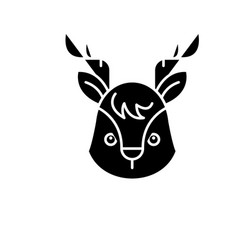 funny moose black icon sign on isolated vector image