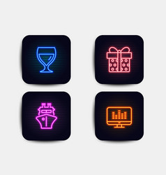 Gift box ship and wine glass icons music making vector