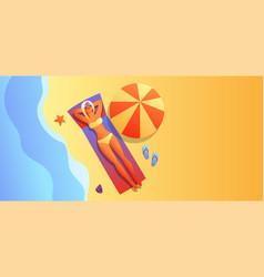 girl in bikini sunbath and relax vector image