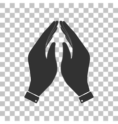 Hand icon Prayer symbol Dark gray vector