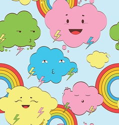 Happy rainy clouds seamless background vector