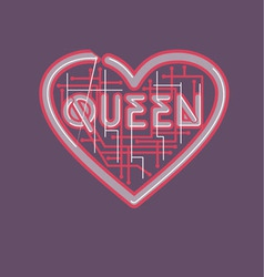 Heart and queen vector
