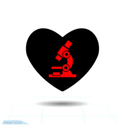 heart black icon love symbol microscope vector image