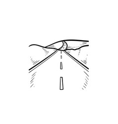 highway and landscape hand drawn outline doodle vector image