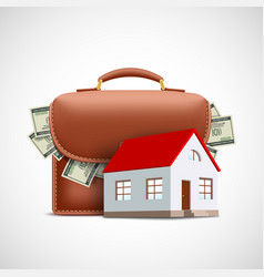 house on background a briefcase with money vector image