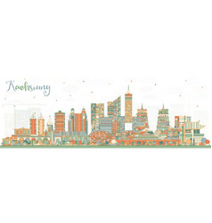 Kaohsiung taiwan city skyline with color buildings vector