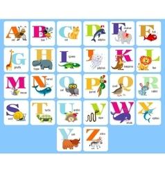 Kids full alphabet with cartoon animals vector