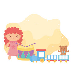 kids toys doll drum train and teddy bear object vector image