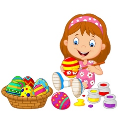 Little girl painting an Easter egg vector