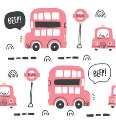 london red bus seamless pattern scandinavian style vector image