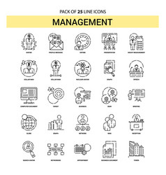 Management line icon set - 25 dashed outline style vector