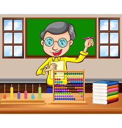 Math teacher in the classroom vector