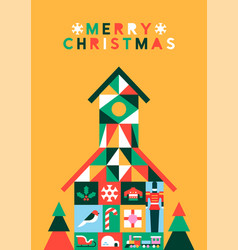 Merry christmas abstract folk house greeting card vector
