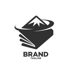 Modern book and mountains logo vector