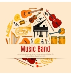 Musical instruments music band poster vector image
