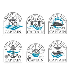 Nautical emblems collection vector