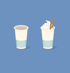paper coffee cups on blue background empty vector image