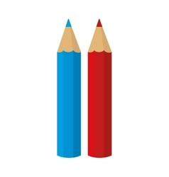 Pencil color crayons blue red vector
