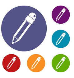pencil with eraser icons set vector image