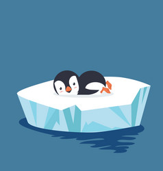 penguin sleep on ice floe vector image