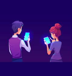 People using smartphone app back view vector