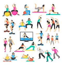People yoga gymnastics aerobics set vector
