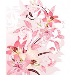 Pink floral fantasy vector
