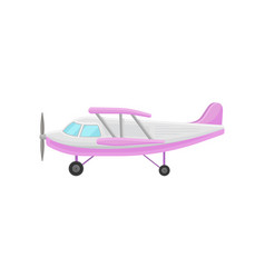 pink small vintage plane light aircraft vector image