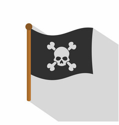 Pirate flag icon flat style vector
