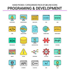 Programming and developement flat line icon set vector