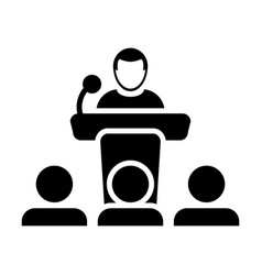 Public speaking icon male person on podium for vector