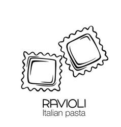Ravioli pasta outline icon vector